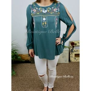 Woven Embroidered Blouse with Slit Sleeves Size L